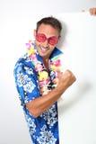 Funny man promoting holidays resort Royalty Free Stock Image