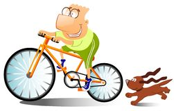 Funny man is riding on a bike. stock illustration