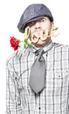 Funny Man Saying Sorry With Love And A Red Rose Stock Image