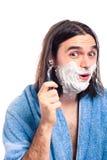 Funny man shaving Stock Photography