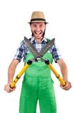 Funny man with shears isolated on white Stock Photos