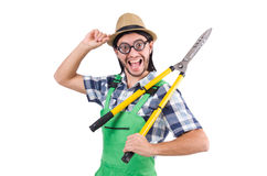 Funny man with shears isolated on white Stock Image