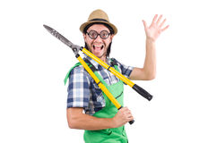 Funny man with shears isolated on white Royalty Free Stock Photos