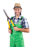 The funny man with shears isolated on white Royalty Free Stock Photo