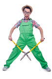 Funny man with shears Royalty Free Stock Photos