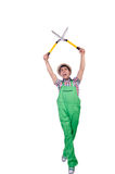 Funny man with shears Stock Images