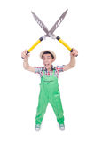 Funny man with shears Stock Photos