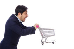Funny man with shopping cart isolated on white Royalty Free Stock Photography