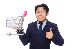 Funny man with shopping cart isolated on white Royalty Free Stock Images