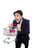 Funny man with shopping cart isolated on white Stock Image