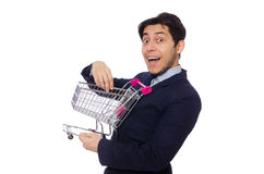 Funny man with shopping cart Royalty Free Stock Photo