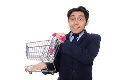 Funny man with shopping cart isolated on white Stock Images
