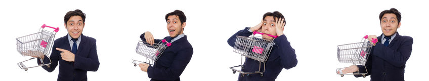 The funny man with shopping cart isolated on white Stock Photography