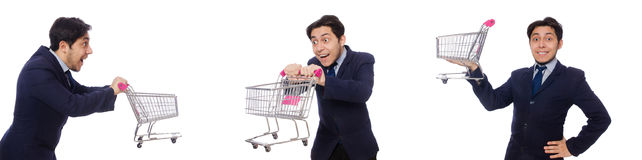 The funny man with shopping cart isolated on white. Funny man with shopping cart isolated on white Stock Photo