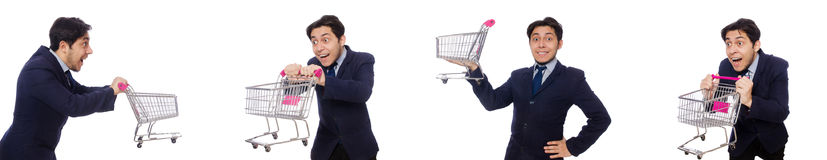 The funny man with shopping cart isolated on white. Funny man with shopping cart isolated on white Royalty Free Stock Image