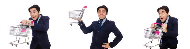 The funny man with shopping cart isolated on white. Funny man with shopping cart isolated on white Royalty Free Stock Photo