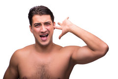 The funny man after shower isolated on white Royalty Free Stock Photography