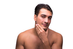 The funny man after shower isolated on white Royalty Free Stock Image