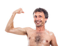 Funny man showing biceps Royalty Free Stock Image
