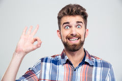 Funny man showing ok sign Royalty Free Stock Images