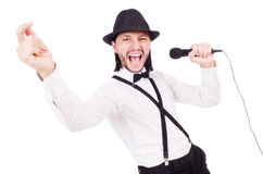 Funny man singing isolated Stock Photos