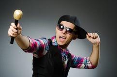 Funny man singing in karaoke Stock Photography