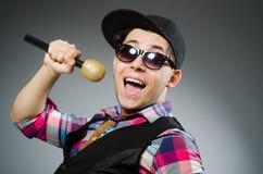 Funny man singing in karaoke Royalty Free Stock Photography