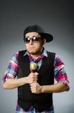Funny man singing in karaoke Stock Image