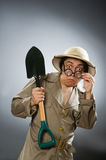The funny man with the spade Stock Images