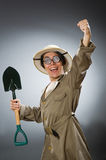 The funny man with the spade Royalty Free Stock Photo