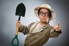 The funny man with the spade Royalty Free Stock Photos
