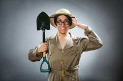 The funny man with the spade Royalty Free Stock Photography