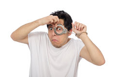 The funny man suffering from mental disorder Royalty Free Stock Photo