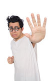 The funny man suffering from mental disorder Stock Images