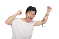 The funny man suffering from mental disorder Royalty Free Stock Photography