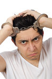 The funny man suffering from mental disorder Royalty Free Stock Image