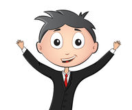 Funny man in suit and tie with hands up. Funny cartoon man in suit and tie with hands up. Vector illustration isolated on white Royalty Free Stock Photography
