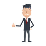 Funny man in suit and tie, shows his hand Like icon. Cartoon businessman. Simple flat vector. EPS 10 Royalty Free Stock Image
