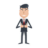 Funny man in suit and tie, shows his hands Like icon. Royalty Free Stock Photography