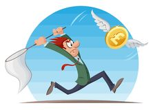 Funny man in suit trying to catch pound sterling coin with a but. Funny man trying to catch pound sterling coin with a butterfly net. Cartoon styled vector Royalty Free Stock Photo