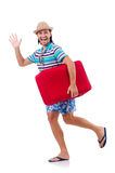 Funny man with suitcase royalty free stock photography