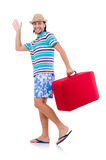 Funny man with suitcase isolated on white Royalty Free Stock Images