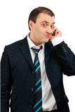 Funny man talking on the phone Stock Images
