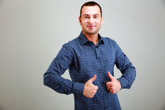 Funny man with thumbs up Royalty Free Stock Image