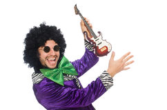 Funny man with toy guitar isolated on white Royalty Free Stock Photo