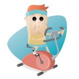 Funny man training on indoor bike trainer Stock Photo