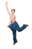 Funny man with trousers Stock Images