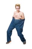 Funny man with trousers isolated Stock Photo
