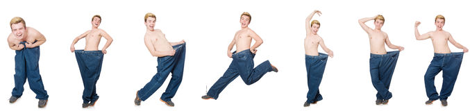 The funny man with trousers isolated on white Royalty Free Stock Photos