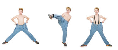 The funny man with trousers isolated on white Stock Photos